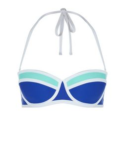 Blue and Green Colour Block Underwired Bikini Top  | New Look