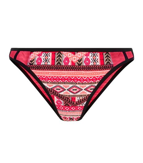 Red Aztec Print Caged Bikini Bottoms  | New Look