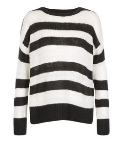 Monochrome Stripe Boxy Jumper  | New Look