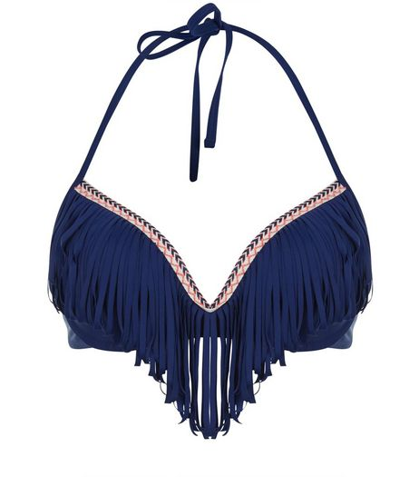 Navy Chevron Trim Fringed Bikini Top | New Look