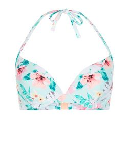Multicoloured Tropical Print Underwired Bikini Top | New Look