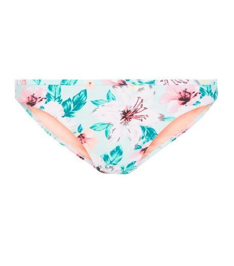 Multicoloured Tropical Print Bikini Bottoms  | New Look