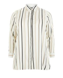 Plus Size White Stripe Long Sleeve Shirt | New Look