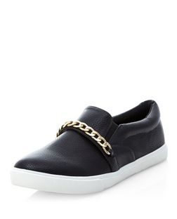 Wide Fit Black Chain Strap Slip On Plimsolls  | New Look