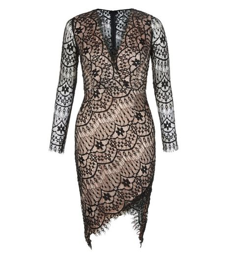 AX Paris Black Lace Wrap Front Dress | New Look