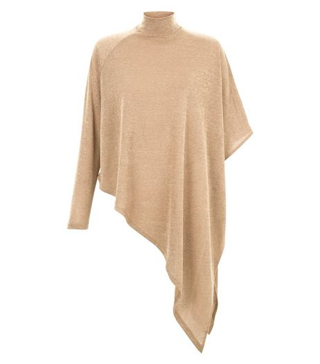 AX Paris Camel Knitted Funnel Neck Asymmetric Top | New Look