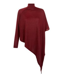 AX Paris Dark Red Knitted Funnel Neck Asymmetric Top | New Look