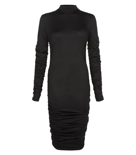 AX Paris Black Ruched Long Sleeved Dress | New Look