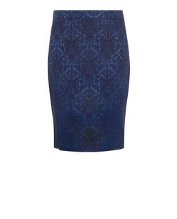 Madam Rage Navy Floral Print Jacquard Co-Ord Skirt | New Look