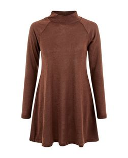 AX Paris Brown Knitted Swing Dress | New Look