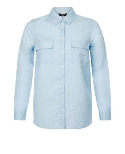 Petite Blue Linen Double Pocket Split Side Shirt  | New Look