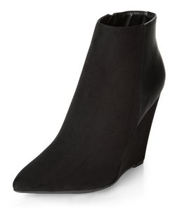 Black Pointed Wedge Ankle Boots  | New Look