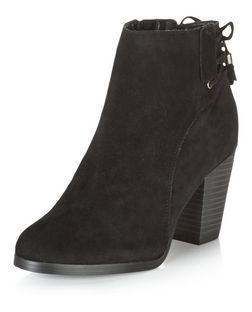 Black Suede Lace Up Back Block Heel Ankle Boots  | New Look