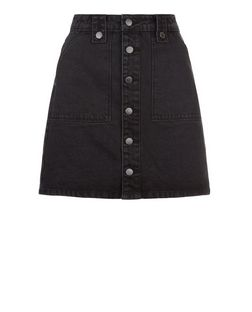 Black Denim Button Front A-Line Skirt  | New Look