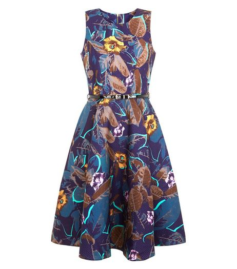 Closet Blue Leaf Print Belted Skater Dress | New Look