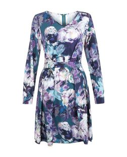 Closet Blue Floral Print V Neck Dress | New Look