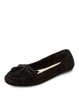 Black Leather Moccasins | New Look
