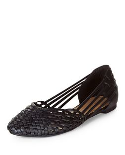 Black Woven Ballet Pumps  | New Look
