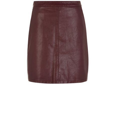 Anita and Green Burgundy Leather-Look Mini Skirt | New Look