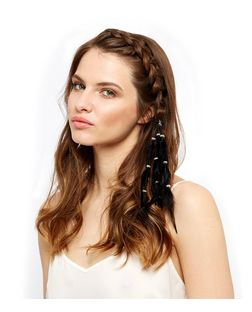 Black Feather Beaded Hairband  | New Look