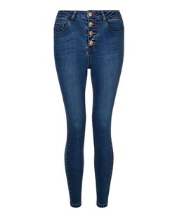 Petite 28in Blue High Waisted Skinny Jeans | New Look