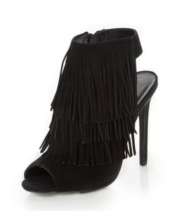 Black Suede Fringe Peeptoe Heeled Boots  | New Look