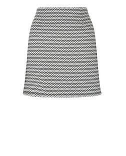 White Geo Stripe Jacquard A-Line Skirt  | New Look