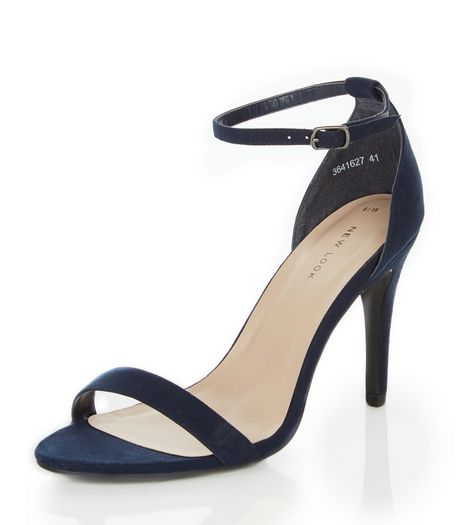 Navy Suedette Ankle Strap Heels | New Look