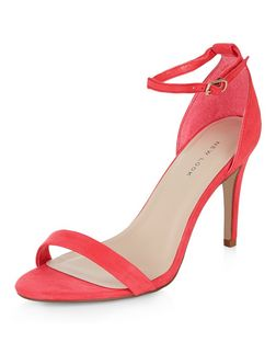 Neon Pink Suedette Ankle Strap Heels | New Look