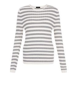 Blue Ribbed Double Stripe Jumper  | New Look