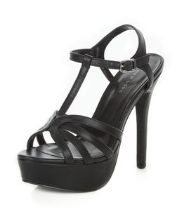 Black Cross T-Bar Strap Platform Heels  | New Look