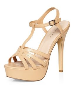Stone Cross T-Bar Strap Platform Heels | New Look