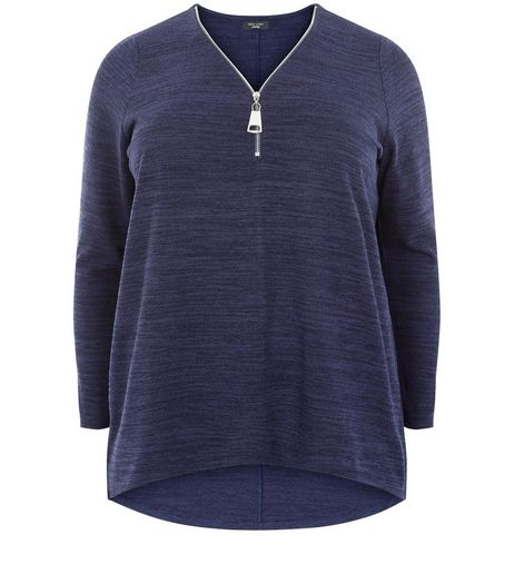 Plus Size Navy Fine Knit Zip Front Top  | New Look