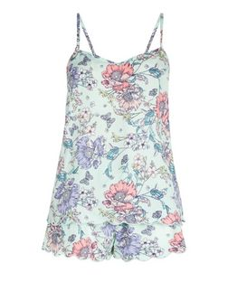 Mint Green Floral Print Pyjama Set | New Look