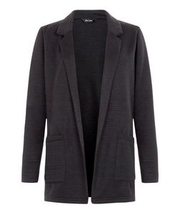 Black Ribbed Blazer  | New Look