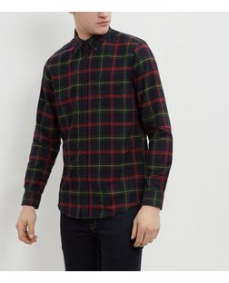 Navy Tartan Check Single Pocket Long Sleeve Shirt  | New Look