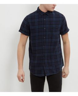 Navy Check Single Pocket Short Sleeve Shirt  | New Look
