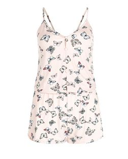 Pink Butterfly Print Playsuit | New Look