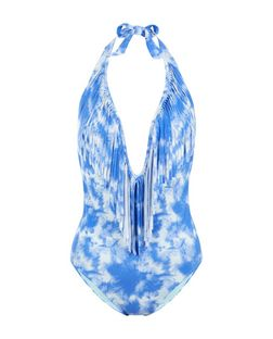 Blue Tie Dye Fringed Swimsuit | New Look