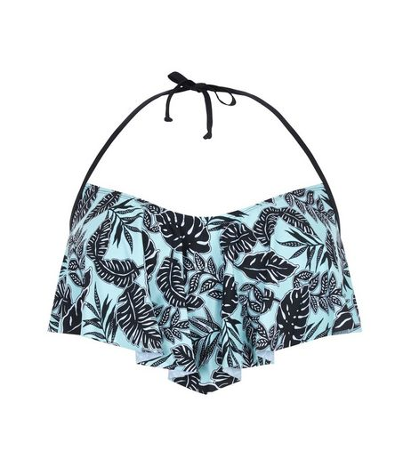 Curves Mint Green Tropical Print Flounce Bikini Top | New Look