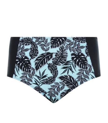Curves Mint Green Tropical Print High Waisted Bikini Bottoms  | New Look