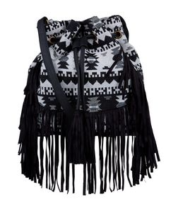 Black Aztec Fringe Trim Duffle Bag  | New Look