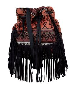 Orange Aztec Fringe Trim Duffle Bag  | New Look