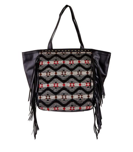 Black Jacquard Panel Fringe Trim Shopper Bag  | New Look
