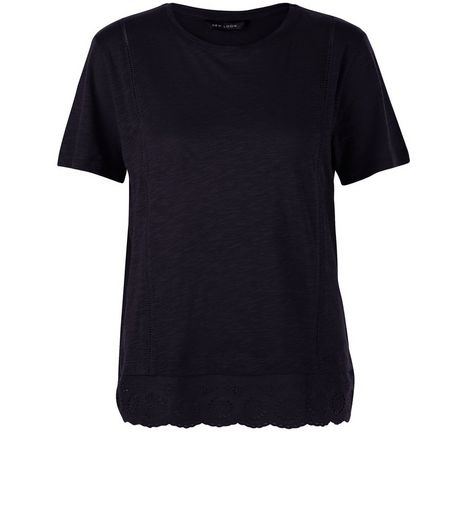 Black Crochet Hem T-Shirt | New Look