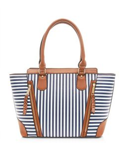 Navy Stripe Contrast Trim Tote Bag  | New Look