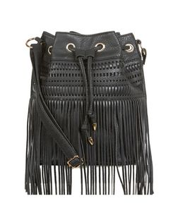 Black Fringe Front Mini Duffle Bag  | New Look