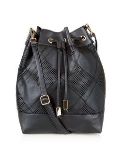 Black Patchwork Duffle Bag  | New Look