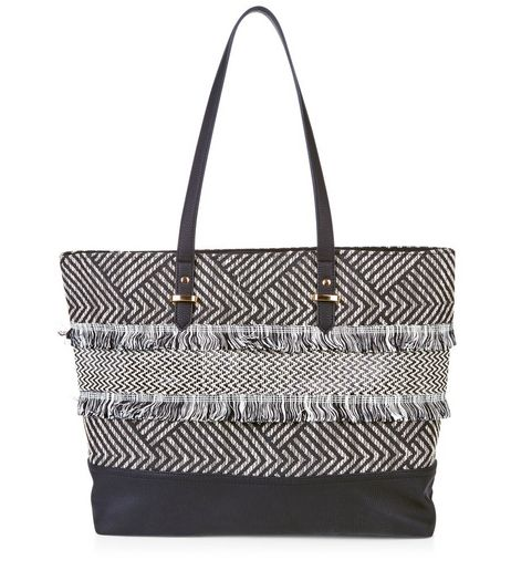 Black Textured Fray Trim Shopper Bag  | New Look