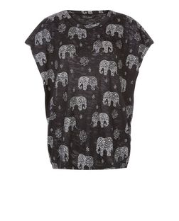 Black Elephant Print Cacoon T-Shirt  | New Look